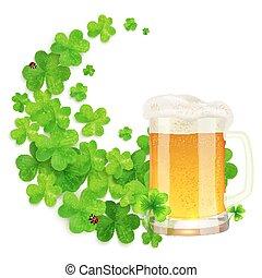 Mug of light beer on green clovers swirl background, St....