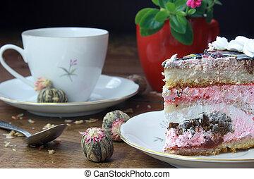 Mug of tea and dessert