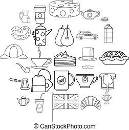 Mug of tea icons set, outline style