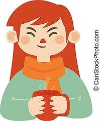 mug., ragazza, caldo, presa a terra