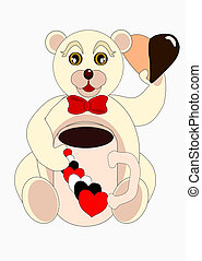 mug san valentino - orsetto bianco con mug e biscotto aforma...