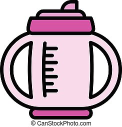 Mug sippy cup icon, outline style - Mug sippy cup icon. ...
