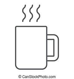 Mug thin line icon, kitchen and drink, coffee sign vector graphics, a linear pattern on a white background, eps 10.