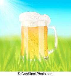 Mug with beer, on green field in sunny day
