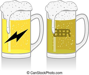 Mug with beer on white