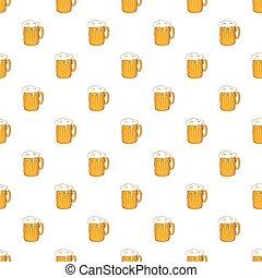 Mug with beer pattern, cartoon style