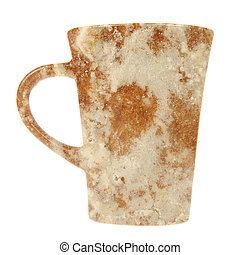 Mug with Frosted Spice Cake Texture Isolated on White Background