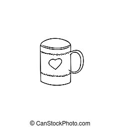 mug with heart in hand drawn style. hot drink tea coffee scandinavian doodle style.