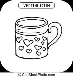 Mug with hearts, hand drawing, vector icon