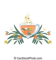 Mug with herbal tea and flowers. Herbal medicine. Isolated vector illustration.
