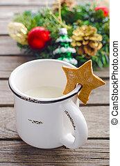 mug with milk in Christmas - beaten off mug with milk and...