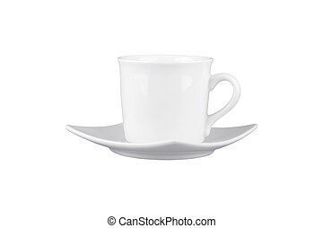 Mug for tea or coffee with saucer isolated on white background