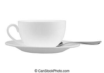 mug with saucer - Mug for tea or coffee on saucer with spoon...