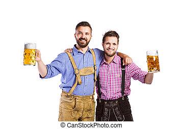 muggar, bayersk, män, traditionell, öl, holdingen, kläder