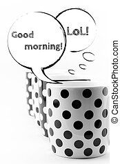 muggar, kaffe, anförande, bubblar