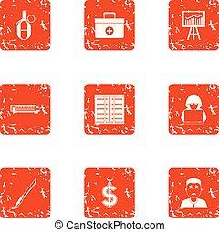 Mugging icons set, grunge style - Mugging icons set. Grunge...