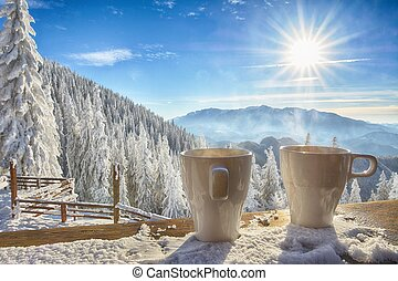 mugs and winter landscape