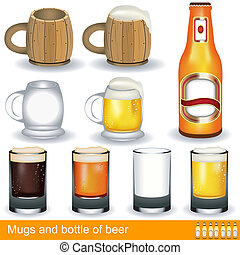 mugs, glasses and a bottle of beer - Illustration of mugs,...