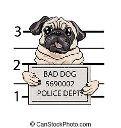 mugshot dog cartoon.vector illustration.
