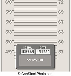 Criminal mugshot measuring scale template, vector illustration