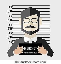 Mugshot Of Businessman Vector Illustration.
