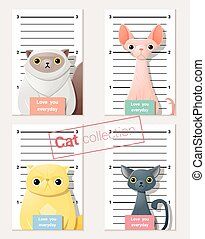 Mugshot of cute cats holding a banner 1 - Mugshot of cute...