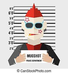 Mugshot Of Gangster Vector Illustration.