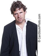 Mugshot of loser - Mugshot of messy scruffy drunk Caucasian...