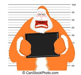 Mugshot of Santa Claus orange prisoner clothing. Mug shot of...