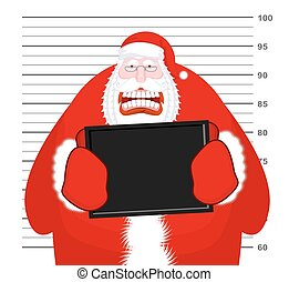 Mugshot Santa Claus at Police Department. Mug shot Christmas. Arrested Bad Santa holding black plate. Grandpa Photo Prisoner in custody for new year. offender portrait