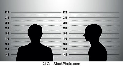 detailed illustration of a mugshot background with a portrait and profile