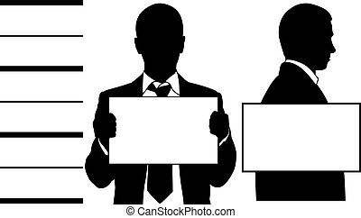 Mugshot silhouettes isolated on white