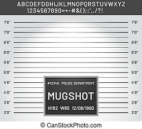 Mugshot template. Police lineup mugshot board with plastic alphabet and signs for criminals photo vector illustration. Criminal height wall, suspect and danger