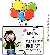 muhammedansk, fødselsdag, mand, ønsker, glade, cartoon