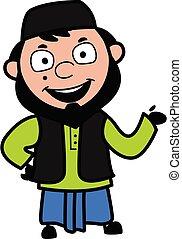 muhammedansk, glade, cartoon, illustration mand
