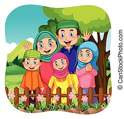 muhammedansk, park, familie