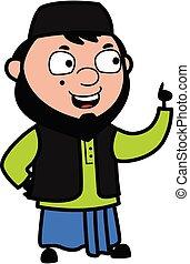 muhammedansk, tales, cartoon, glade, mand