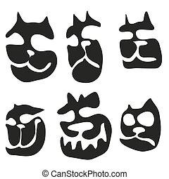 muilkorf, abstract, silhouette, kat