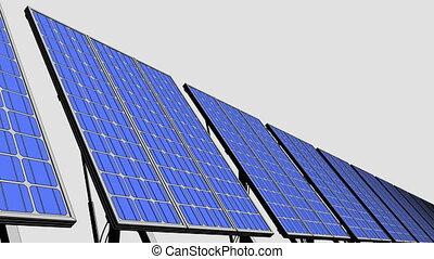Muiltiple solar panels, blue cartoon version for...