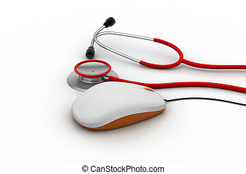 muis, computer, stethoscope