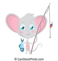 muis, karakter, toestand, schattig, fishing., vector, pose., grijze , emoji, stickers, liggen, emotie, emoticon, vrijstaand, spotprent, illustraties