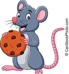 muis, koekje, spotprent, vasthouden