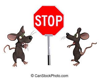 muis, met, een, stopteken