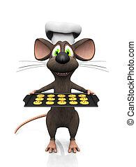 muis, spotprent, baker.