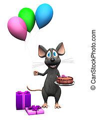 muis, vasthouden, het glimlachen, ballons, spotprent, cake.