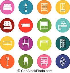muitas cores, jogo, mobília, ícones