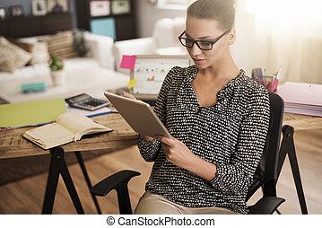 muito, útil, tabuleta, escritório, digital