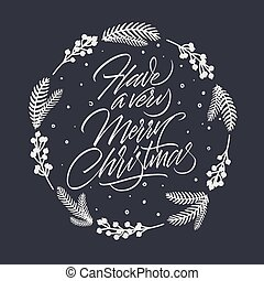 muito, cartão, feliz natal, lettering, ter