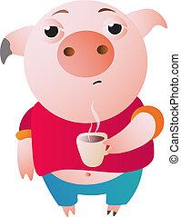 muito, copo, quentes, sonolento, café, porca