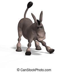 muito, cute, burro, toon